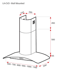 lux air la60cvdblk 60cm curved glass hood in black 680m3hr