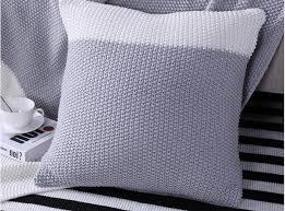 taie coussin canapé vente en gros 45 45 cm gris blanc tricoté taie d oreiller