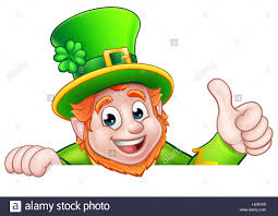 cartoon leprechaun st patricks day character peeking over a sign