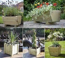 wooden flower u0026 plant troughs boxes ebay