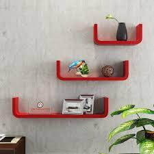 floating wall shelf set of 3 u0027u u0027 shape round corner wall racks red