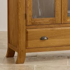 Glass Fronted Sideboards Taunton Rustic Brushed Solid Oak Glass Front Display Cabinet Oak
