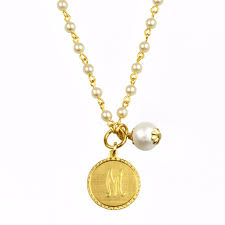 Intial Necklace Mini Coin Pearl Initial Necklace U2013 John Wind Maximal Art