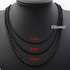 black necklace box images Men 39 s boy 39 s black 3mm 4mm 5mm stainless steel round box chain jpg