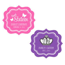 labels for party favors personalized sweet 16 or 15 frame labels hang tags and stickers