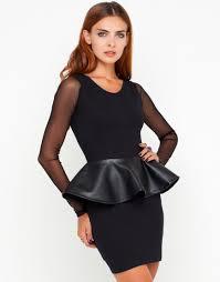 peplum dress buy motel michaela mesh sleeve pu peplum dress in black at motel
