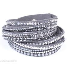 leather bracelet with swarovski crystal images 2018 crystal leather bracelet rhinestone slake deluxe gray jpg