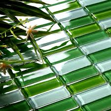 Crystal Glass Tile Brick Strip Kitchen Backsplash Tiles Green - Green glass backsplash tile