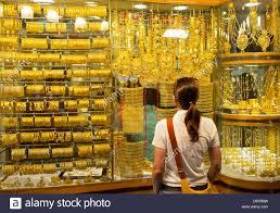 window display of gold jewellery in gold souk in deira dubai