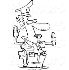 vector of a cartoon police officer controlling traffic coloring