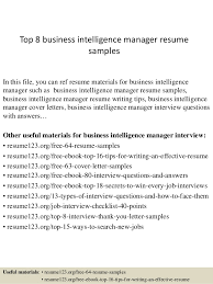 Business Resume Examples by Top 8 Business Intelligence Manager Resume Samples 1 638 Jpg Cb U003d1428677094