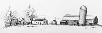 House Drawings by Old Farm House Drawing