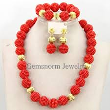 wedding necklace set red images Buy lovely nigerian party beads necklace african jpg