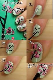 diy arizona green tea cherry blossom inspired nails soo cute and