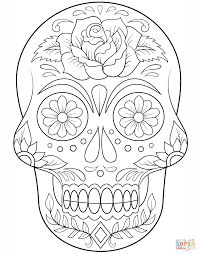 dead flower coloring page sugar skull with flowers super coloring christmas pinterest