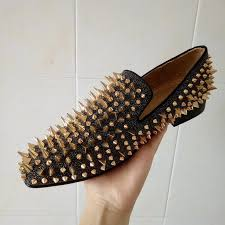 cool tiro studs red bottom loafers men flats with spikes and