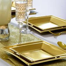 assiette jetable mariage 8 grandes assiettes or carrées dragées anahita