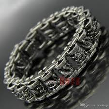 silver stainless steel bracelet images 2018 mens heavy vintage silver biker stainless steel dragon drum jpg