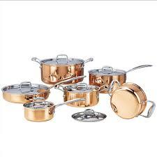 batterie de cuisine en cuivre de haute qualité de cuivre 6 pièces marmites avec poêle inoxydable