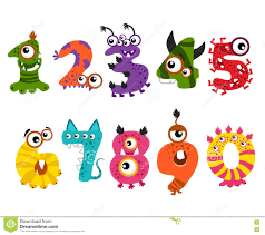 halloween party clipart funny cute monster numbers for halloween party event vector stock