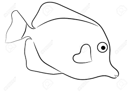 easy outlines of animals yellow tang tropical fish simple outline isolated on white