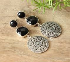 black earrings black onyx silver artisan ethnic earrings designer earrings azilaa