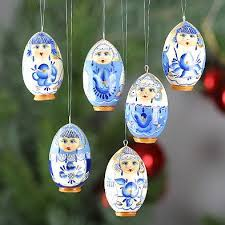 flower girl christmas ornament blue flower ornaments set russian christmas