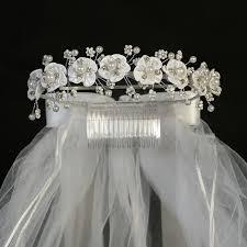 communion headpiece satin flowers beaded floral sprigs w white veil holy