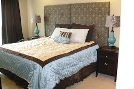 furniture inspiring homemade headboards for wonderful bedding creative homemade headboards with chocolate and white theme bedding plus double table standing lamps