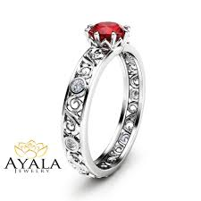 filigree engagement rings natural ruby engagement ring unique 14k white gold ruby ring