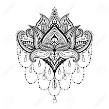 henna coloring pages vector ornamental lotus ethnic zentangled henna tattoo patterned