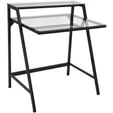 Black Metal And Glass Computer Desk by 2 Tier Metal And Tempered Glass Desk Black Or White U2013 Mcm Classics