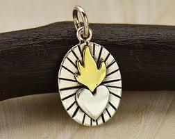 sacred heart jewelry sacred heart charm etsy