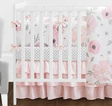 Pink And Blue Crib Bedding 9 Pcs Blush Pink Grey And White Shabby Chic Watercolor Floral