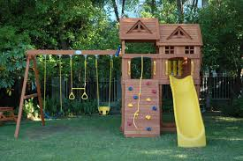 Kids Backyard Swing Set Fabulous Wooden Outdoor Playhouse Design Featuring Swing And