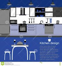 modern kitchen interior flat design with home furniture and