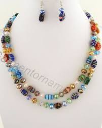 long necklace sets images 1 5m long millefiori glass with 10mm crystal beads knotted jpg