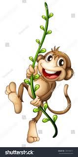 illustration monkey hanging on vine on stock vector 126159311