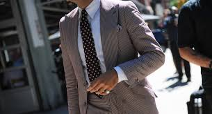 men u0027s brown vertical striped suit white dress shirt black polka