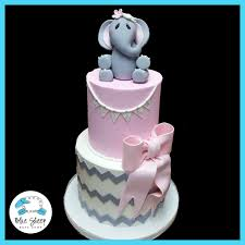 pink and grey elephant and chevron baby shower cake nj