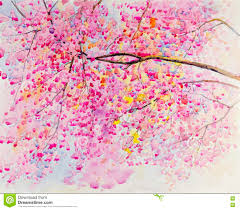 Pink Color Abstract Watercolor Landscape Original Painting Pink Color Of