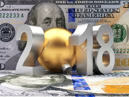 new year dollar bill business and financial concept silver 2018 new year with