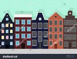european house original colourful european houses stock vector 267720824