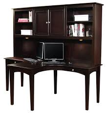 2 Person Computer Desk Furniture Dark Brown Stained Wooden Dual T Computer Desk With