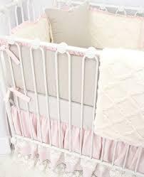 bumpers reversible ivory lattice minky u0026linen pink ruffle caden lane