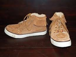 womens ugg moccasin boots womens ugg ariani chestnut suede fringe sneaker shoe moccasin