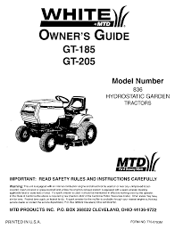 mtd lawn mower gt 205 user guide manualsonline com