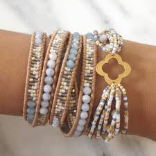 periwinkle mix beaded wrap bracelet on beige leather beaded wrap