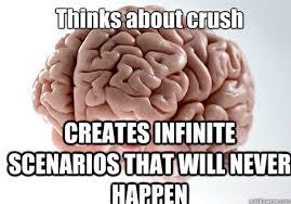 Scumbag Brain Meme - thinks about crush creates infinite scenarios that will never
