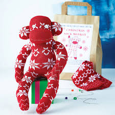 christmas sock monkey craft kit by sock creatures